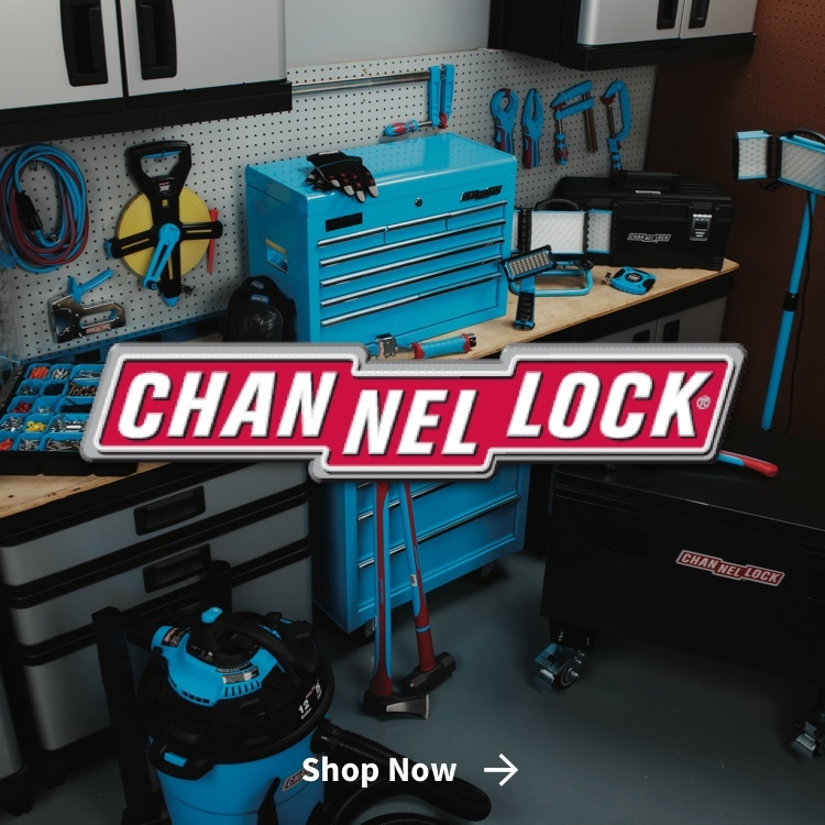 Channellock logo with Channellock tool set in background