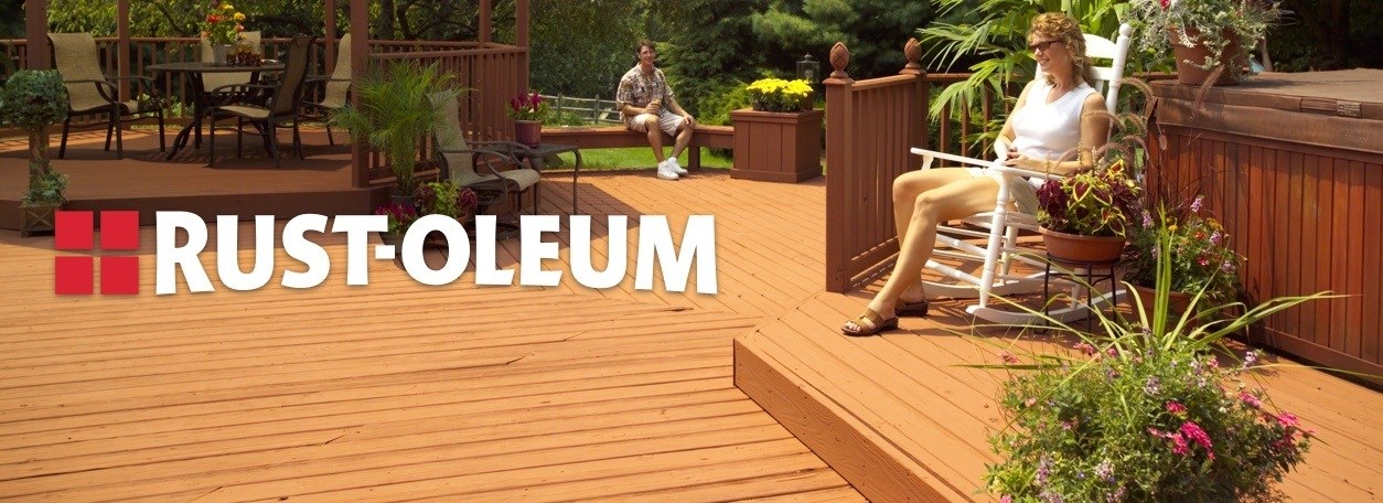 Rust-Oleum logo with woman sitting on Rust-Oleum-stained deck