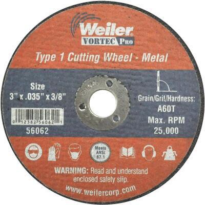 Weiler Vortec 3 In. x 1/32 In. Type 1 Cut-Off Wheel
