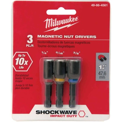 Milwaukee Shockwave 3-Piece Impact Magnetic Nutdriver Bit Set