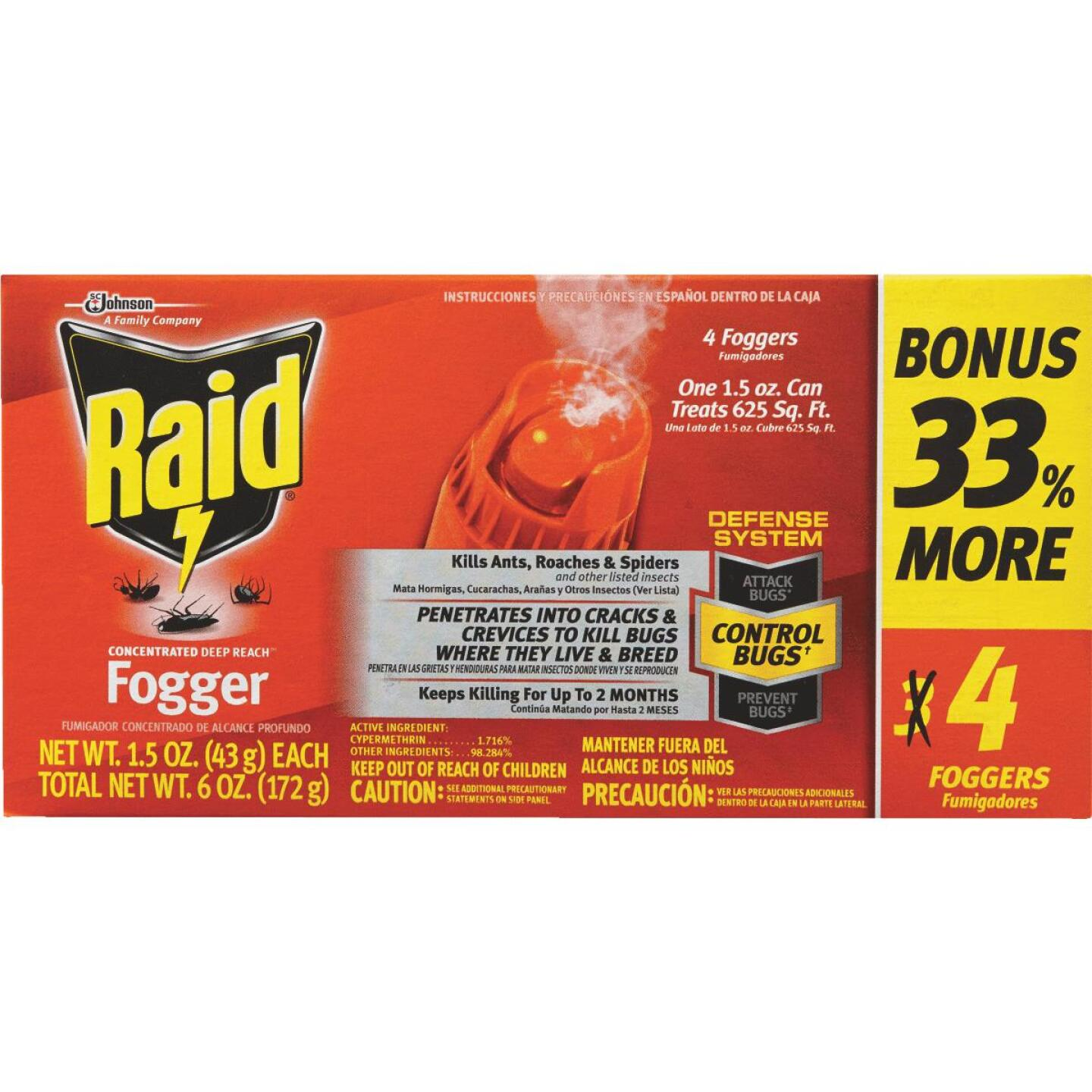 Raid Concentrated Deep Reach 1.5 Oz. Indoor Insect Fogger (4-Pack) Image 3