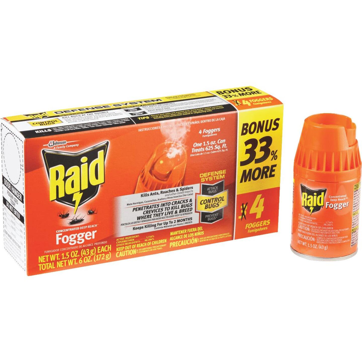 Raid Concentrated Deep Reach 1.5 Oz. Indoor Insect Fogger (4-Pack) Image 1