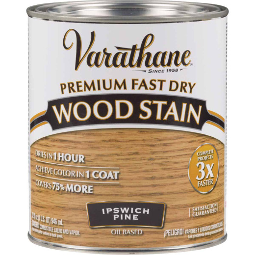 Varathane Fast Dry Ipswich Pine Urethane Modified Alkyd Interior Wood Stain, 1 Qt.