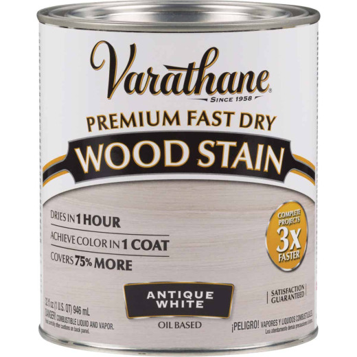 Varathane Fast Dry Antique White Urethane Modified Alkyd Interior Wood Stain, 1 Qt.