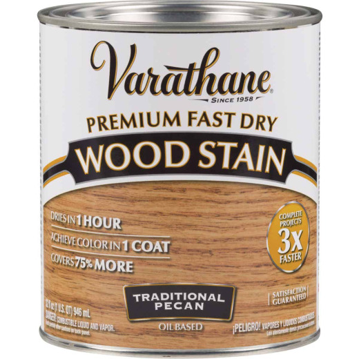 Varathane Fast Dry Traditional Pecan Urethane Modified Alkyd Interior Wood Stain, 1 Qt.