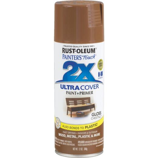 Rust-Oleum Painter's Touch 2X Ultra Cover 12 Oz. Gloss Paint + Primer Spray Paint, Chestnut