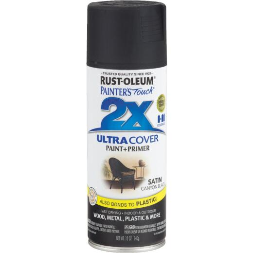 Rust-Oleum Painter's Touch 2X Ultra Cover 12 Oz. Satin Paint + Primer Spray Paint, Canyon Black