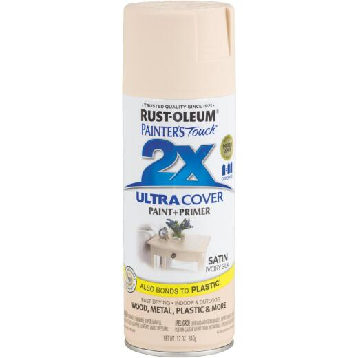 Rust-Oleum Painter's Touch 2X Ultra Cover 12 Oz. Satin Paint + Primer Spray Paint, Ivory Silk
